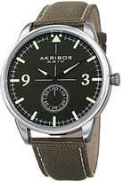 Akribos XXIV Men's Silver-Tone Case with Green Dial on a Green Canvas Strap Watch AK938GN