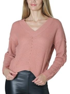 No Comment Juniors' Lace-Up Sweater
