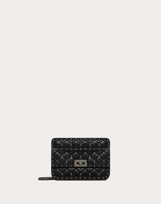 Valentino Small Crinkled Lambskin Rockstud Spike Bag Women Black Cotton, Polyester OneSize