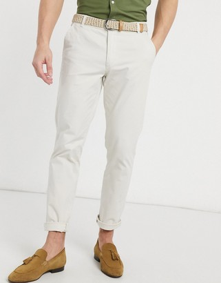 Selected organic cotton straight fit chinos in off