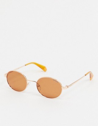 Polaroid round sunglasses in gold and orange