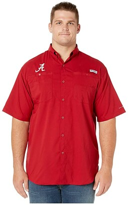 Columbia College Big Tall Alabama Crimson Tide Collegiate Tamiamitm II Short Sleeve Shirt (Red Velvet) Men's Short Sleeve Button Up