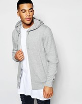 Asos Zip Up Hoodie In Gray Marl