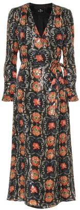 Etro Printed silk-blend crepe midi dress