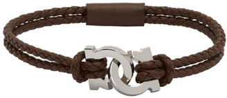 Salvatore Ferragamo Brown Woven Gancini Bracelet