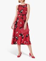 Hobbs Petite Carly Floral Print Midi Dress, Black Pink
