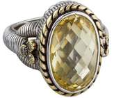 Judith Ripka Diamond & Canary Crystal Oval Ring