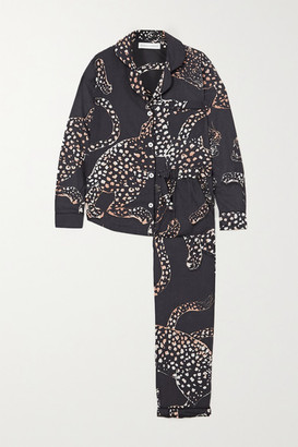 Desmond & Dempsey Jag Animal-print Organic Cotton Pajama Set - Black