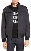 Black Rivet Men's Wool Blend Military Bomber Jacket