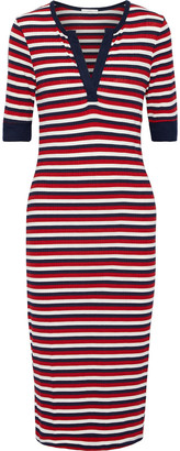 Joie Hermila Striped Ribbed-knit Midi Dress