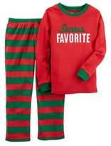 Carter's Boys Red & Green Santa's Favorite Pajamas Holiday Sleepwear Set 7