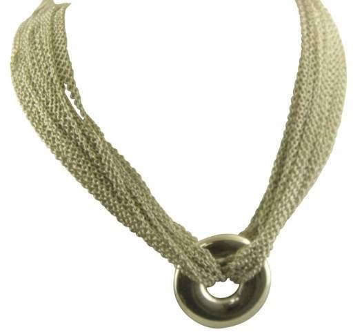 Tiffany & Co. 925 Sterling Silver Multi Strand Circle Mesh Necklace Pendant