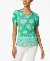 Alfred Dunner Petite Bahama Bays Embellished Turtle-Print Top
