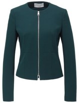 HUGO BOSS - Collarless Regular Fit Jacket In Stretch Jersey - Dark Green