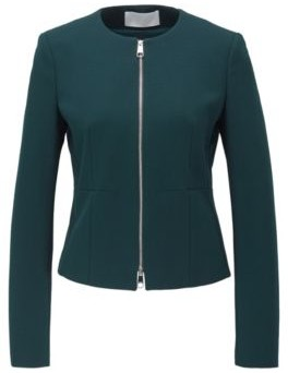 HUGO BOSS Collarless Regular Fit Jacket In Stretch Jersey - Dark Green