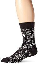 Happy Socks Men's 1 Pack Unisex Combed Cotton Crew-Black Paisley