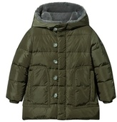 Il Gufo Military Green Puffer Coat with Faux Fur Hood Lining