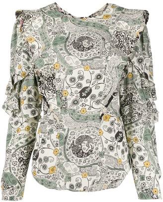 Etoile Isabel Marant Floral Print Ruffle Trim Blouse