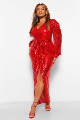 boohoo Plus Sequin Puff Sleeve Tie Waist Wrap Maxi Dress