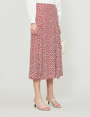 Reformation Zoe floral-print high-waisted woven midi skirt