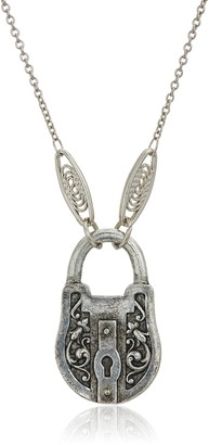 1928 Jewelry Antiqued Pewter Tone Lock Charm Pendant Necklace 30""