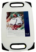 H & L Russel Ltd Anti-Bacterial Chopping Board with Black Trim and Slotted Handles, White, Non-Slip, Polyethylene 42 x 25 x 1 Centimetres