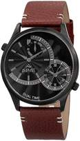 August Steiner Men's Polished Alloy & Leather Watch, 42mm