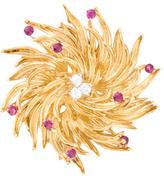 Tiffany & Co. 18K Diamond and Ruby Wreath Brooch