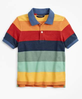 Brooks Brothers Boys Short-Sleeve Cotton Stripe Color-Block Polo Shirt