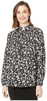 Lauren Ralph Lauren Georgette Tie Neck Top (Polo Black/Silk White) Women's Clothing
