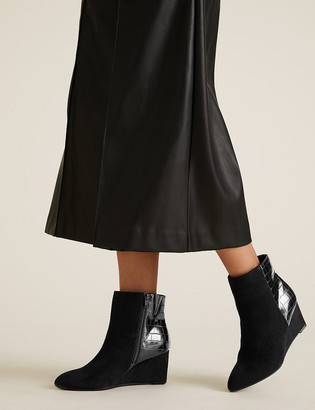 Marks and Spencer Wide Fit Wedge Pointed Ankle Boots