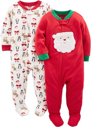 Simple Joys by Carter's Baby 2-Pack Holiday Loose Fit Flame Resistant Fleece Footed Pajamas Ivory Red Santa 18 Months