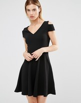 Club L Bardot Skater Dress With Cut Out Shoulder Detail