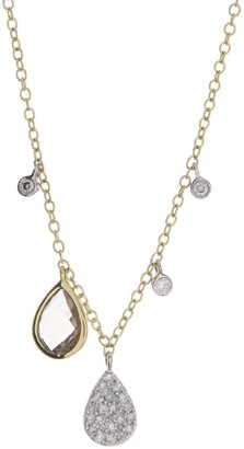 Meira T 14K Yellow Gold Smoky Topaz & Pave Diamond Pendant Necklace