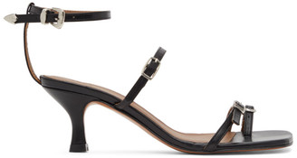 Abra Black Buckle Heeled Sandals