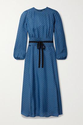 Cefinn Selma Belted Printed Crepe De Chine Midi Dress - Blue