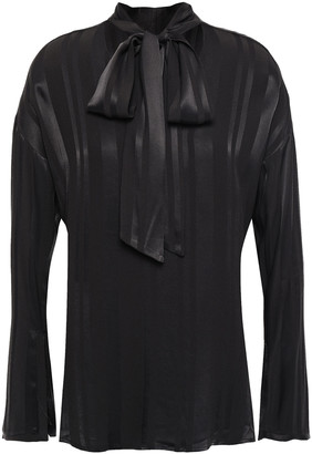 Charli Pussy-bow Striped Satin-jacquard Blouse