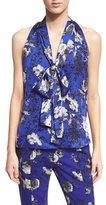 Prabal Gurung Sleeveless Tie-Neck Floral-Print Blouse, Cobalt