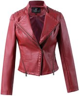 LingLuoFang LLF Women's Faux Leather Moto Biker Short Power Shoulder Dovetail Jacket With Rivet