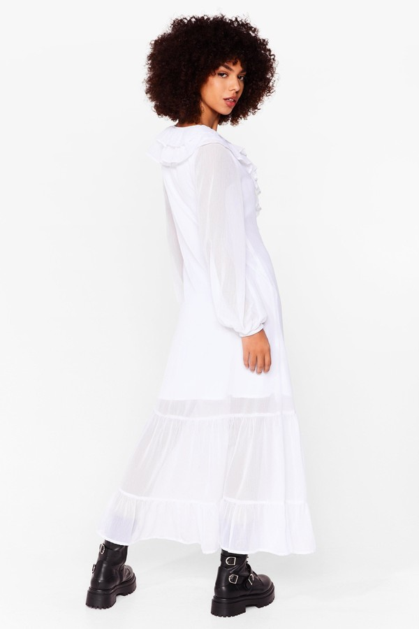 Thumbnail for your product : Nasty Gal Womens Chiffon Long Sleeve Ruffle Maxi Dress - White - 10