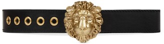 Gucci Leather belt with lion head buckle