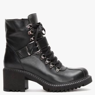 Df By Daniel Module Black Leather Lace Up Ankle Boots