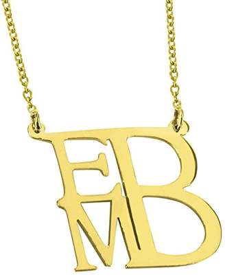 MonogramOnline MN113-SN-SS-M-Link- 16 in 16 in Square Shaped Custom Monogram Necklace