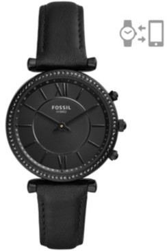 Fossil Women's Hybrid Smart Watch Carlie Black Leather Strap Watch 36mm