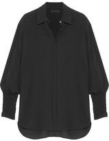 The Row Seenu Smocked Silk-crepe Shirt - Black