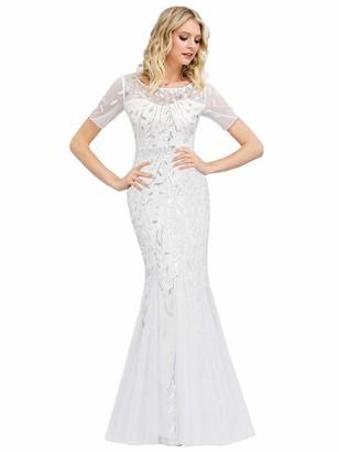 Ever Pretty Ever-Pretty Women's Floor Length Elegant Short Sleeve Tulle with Sequin Fishtail Mermaid Prom Dress Navy Blue 20UK
