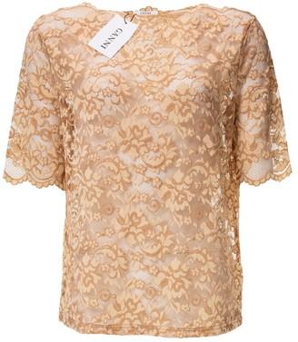 Ganni Spring Summer 2019 Beige Lace Top for Women