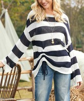 Suzanne Betro Women's Pullover Sweaters 101NAVY/WHITE - Navy & White Stripe Side-Drawstring Boatneck Sweater - Women & Plus