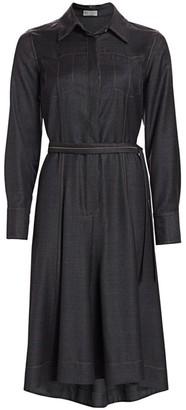 Brunello Cucinelli Denim Belted Wool Shirtdress