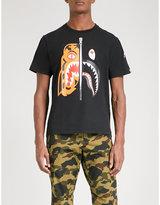 A Bathing Ape Black Printed Tiger Shark Cotton-jersey T-shirt
